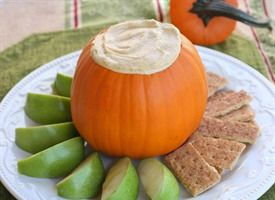 Pumpkin Pie Dip- serve with apples, graham crackers or cinnamon and sugar pita chips