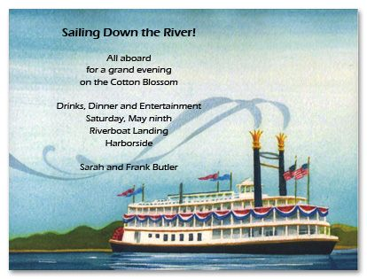 Fun Cruising Steam Riverboat Party Invitations – Boat Party Invitation