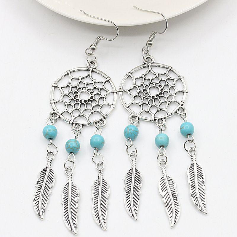 Vintage Femmes Turquoise Alliage Ear Stud Dangle Boho Boucles d/'Oreilles Mariage Bijoux
