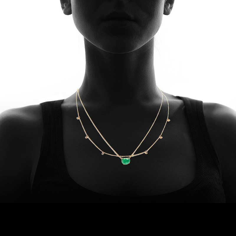 """Get an instant layered look with this necklace, featuring a rose-cut emerald gem and a chain sparkling with bezel-set diamonds.    Diamonds:  0.18 total weight (G color, SI1 clarity) Gemstones:  emerald Metals:  14k yellow gold Length:  16-18"""" Handmade in USA    Item number:  260-01153"""