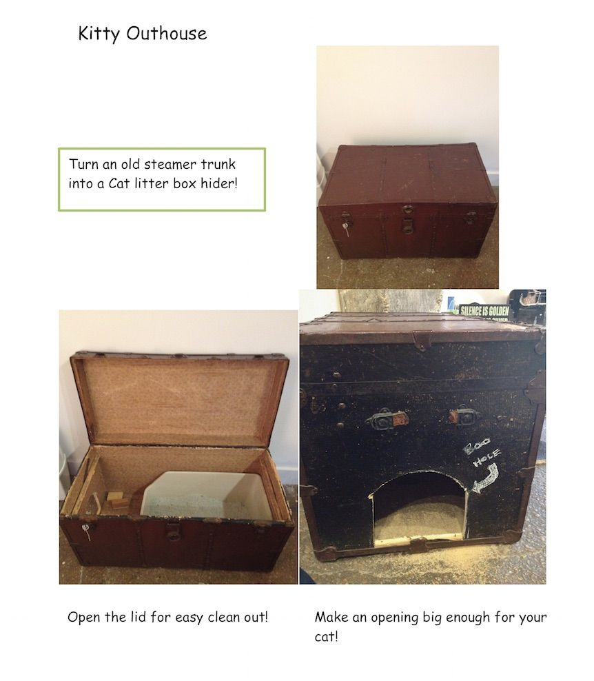 Diy cat litter box hider kitty outhouse use an old