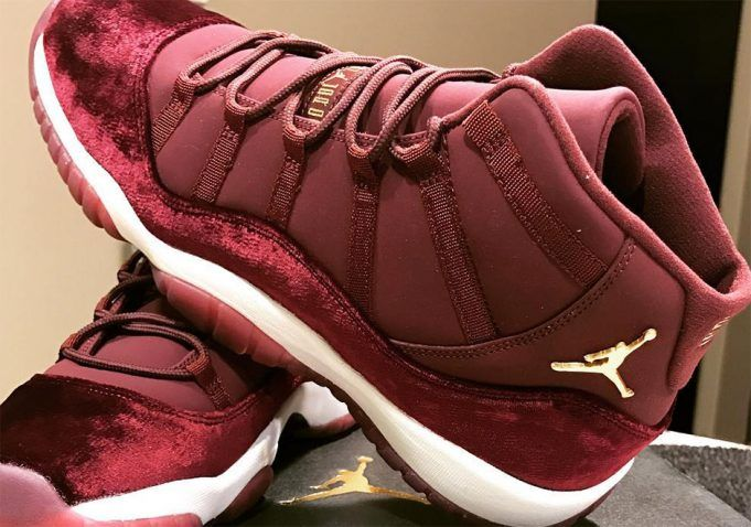 the latest 5c068 e9dc8 air-jordan-11-heiress-velvet-maroon-gold