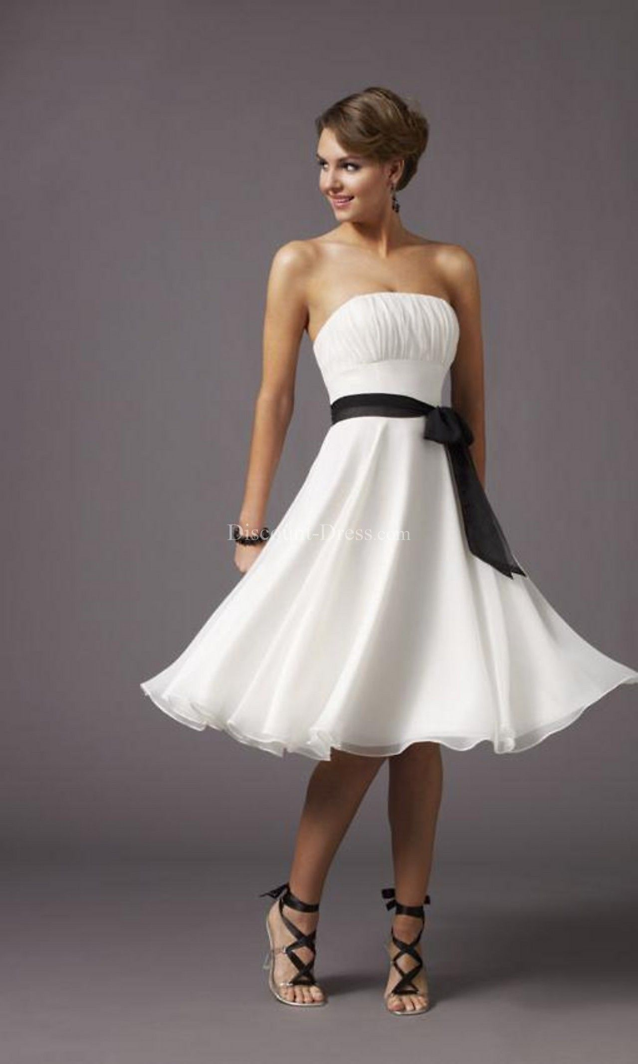 Strapless knee length prom dress style dress up pinterest