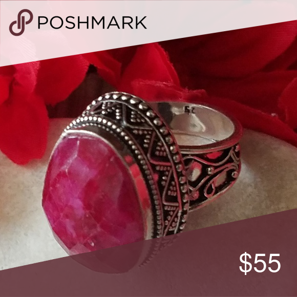 Size 5 Pink Ruby Sterling Silver Ring  New Vintage Wholesale
