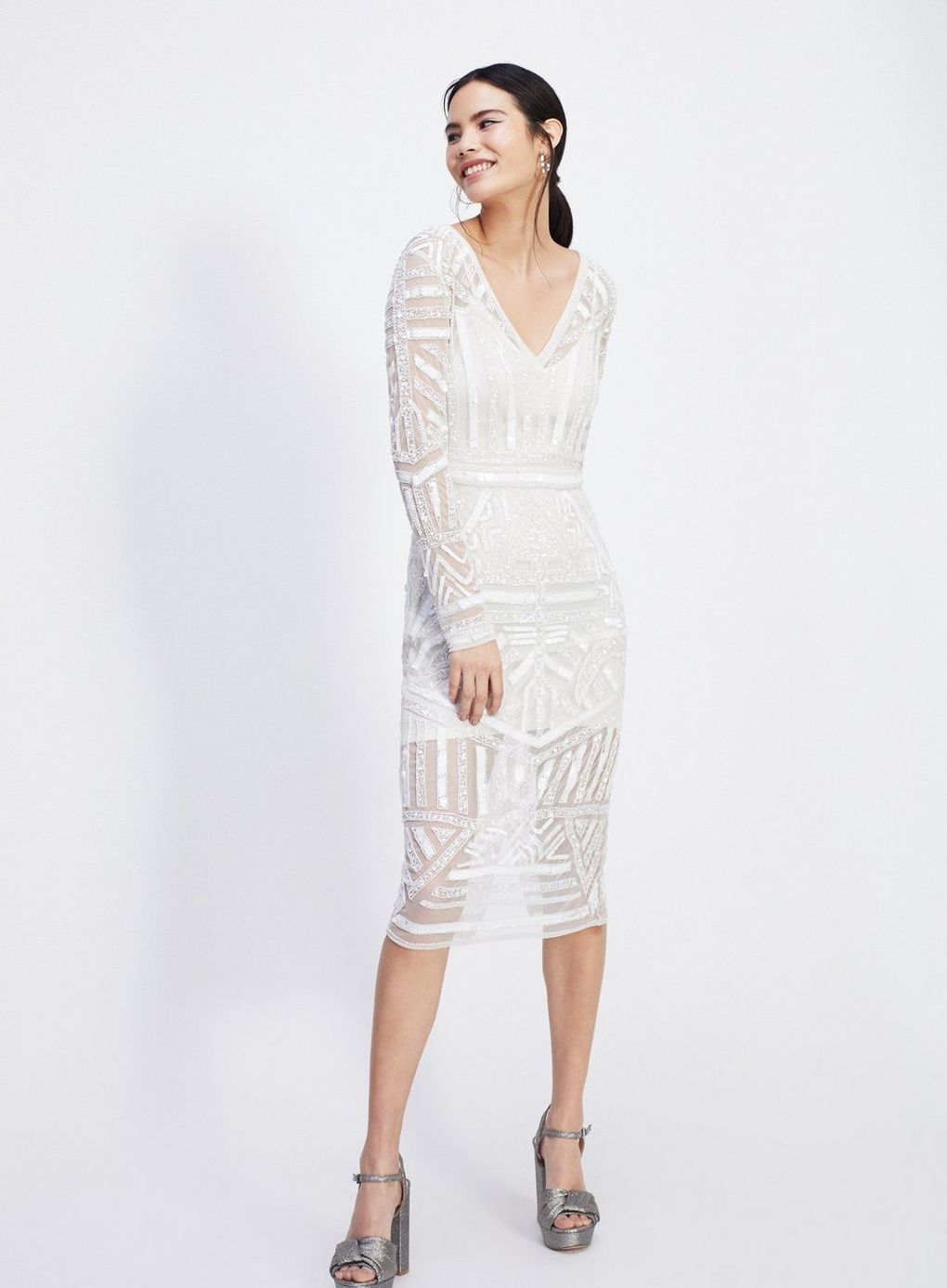 d837ac928675c White Aztec Beaded Midi Dress - Going Out-Out - Clothing - Miss Selfridge
