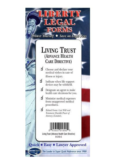 Living Trust  Advance Health Care Directive Legal Forms Kit  Usa
