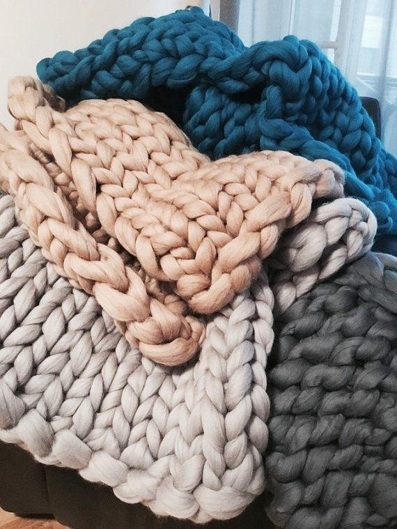 Photo of Twin XL size Chunky blanket Giant blanket Chunky knit White blanket 100 % Merino wool Gray Adult Christmas gift Afghan Full Wool blanket