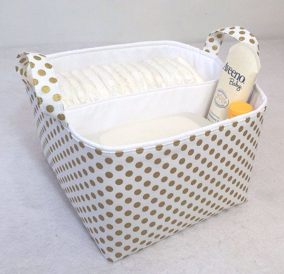 Metallic Gold Lg Diaper Caddy 10 X10 X7 Fabric Storage Bin Basket