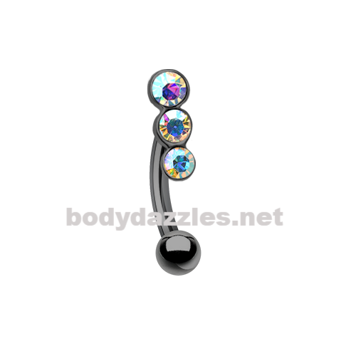 Black Triple Linear Gem Curved Barbell Eyebrow Ring 16ga Daith Rook Ring
