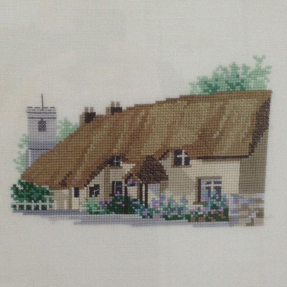 Completed Cross Stitch British Thatched Roof Cottage House Linen Custom Framed