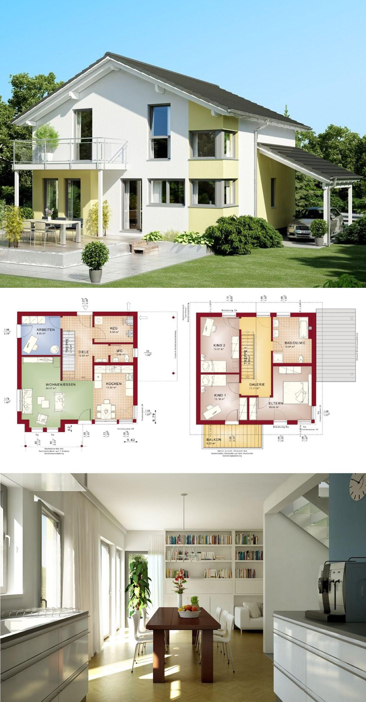 Modernes einfamilienhaus mit galerie satteldach carport for Modernes einfamilienhaus grundriss