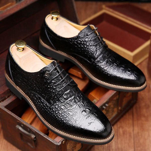Men Alligator Pattern Pointed Formal Business Lace Up Shoes is part of Shoes - Brand NoShoe Type Formal ShoesToe TypeRound ToeClosure Type Slip OnGender MaleOccasion CasualSeason Spring Summer AutumnColor Black BrownMaterialUpper Material LeatherOutsole Material RubberPackage included1pair of shoes(without box)