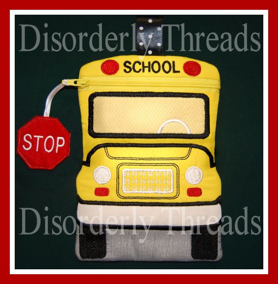 School Bus Zippered Bag 5X7-5737