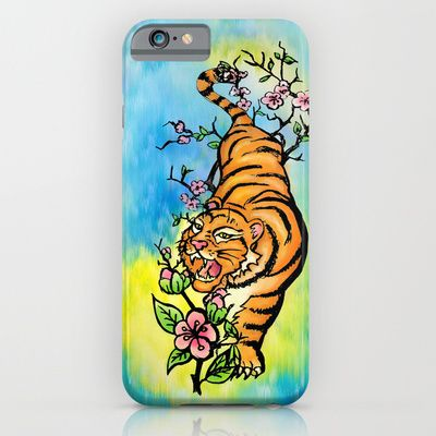 Tiger in Cherry Blossoms with Blue and Yellow Watercolor Background iPhone & iPod Case by PatriciaRoberta - $35.00