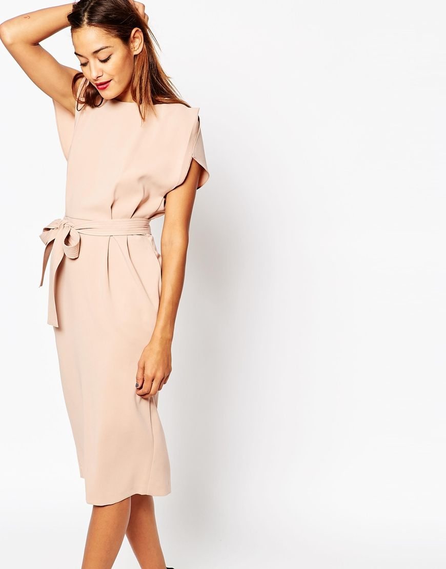 Belted Midi Dress with Split Cap Sleeve and Pencil Skirt | Pencil ...