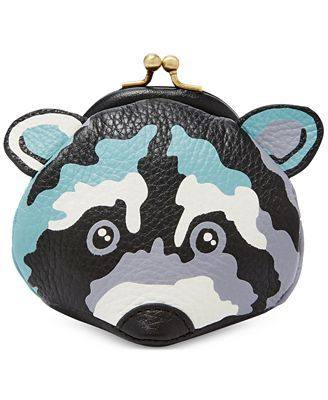 44681a5f7222 Fossil Raccoon Leather Coin Purse