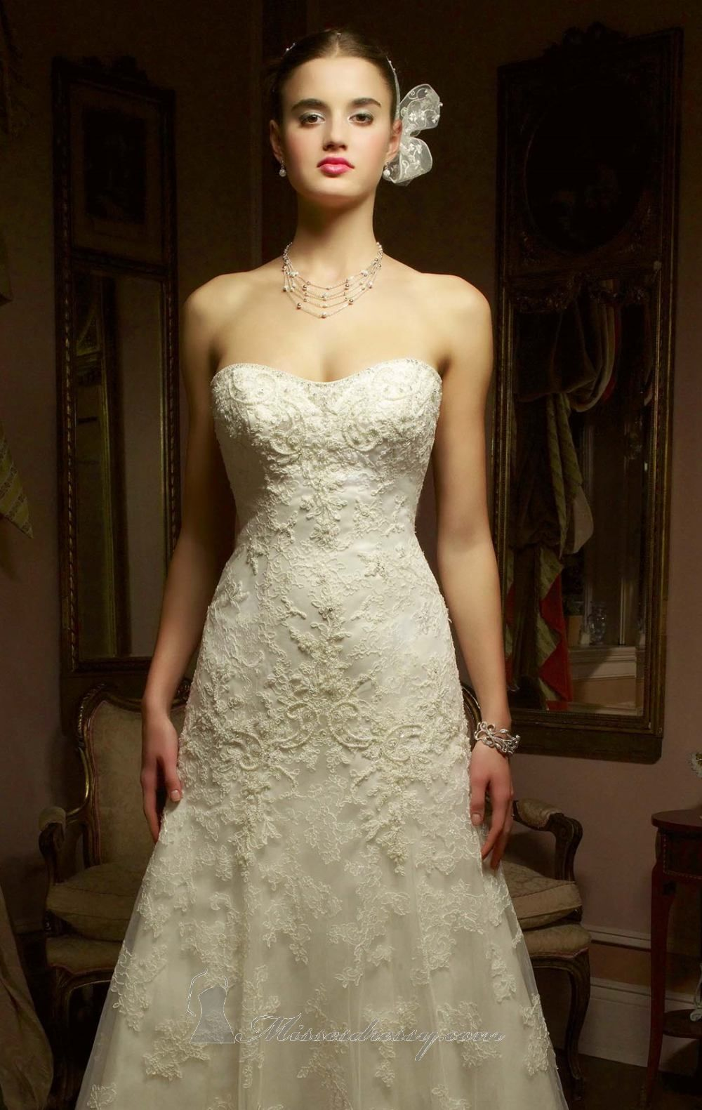 Beaded Lace Over Silky Satin Gown by Casablanca Bridal