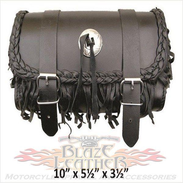 Genuine Leather Motorcycle Windshield Concho Tool Gear Bag w// Fringe Trim