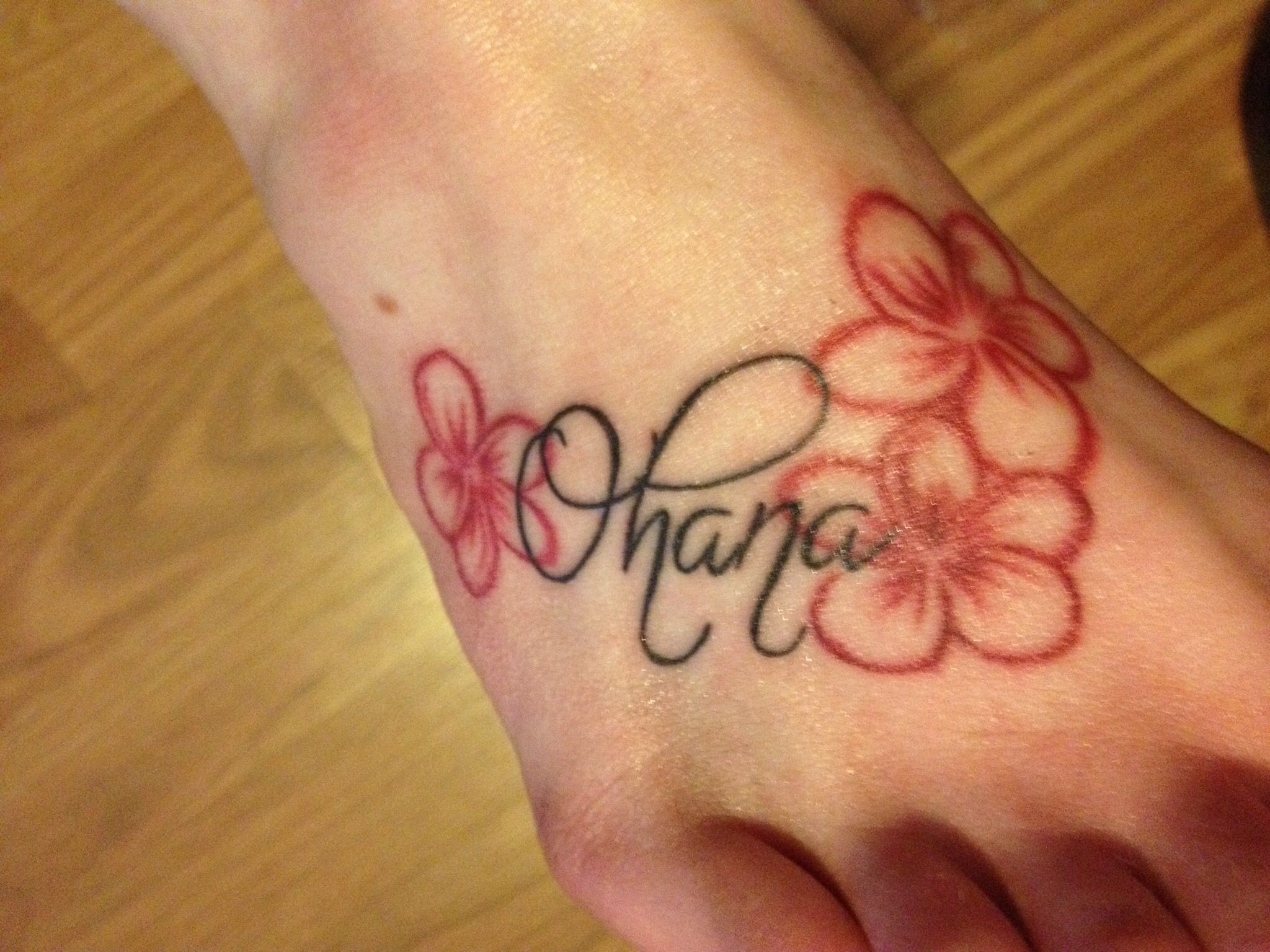 Ohana With Hawaiian Flowers So Beautiful I Love It Tattoo