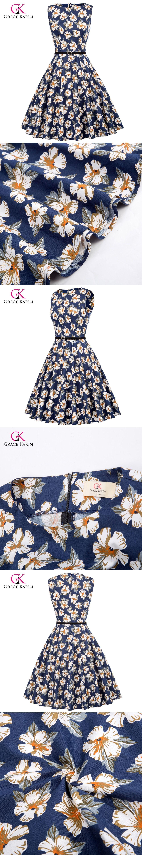Grace karin elegant cocktail dress floral print robe retro vestido