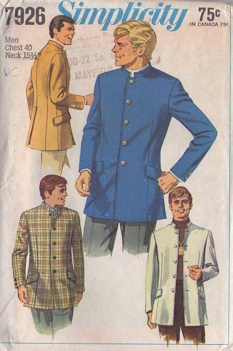 Mens Vintage Chinese Grandad Collar Waistcoat Retro Indian Nehru Beatle Style