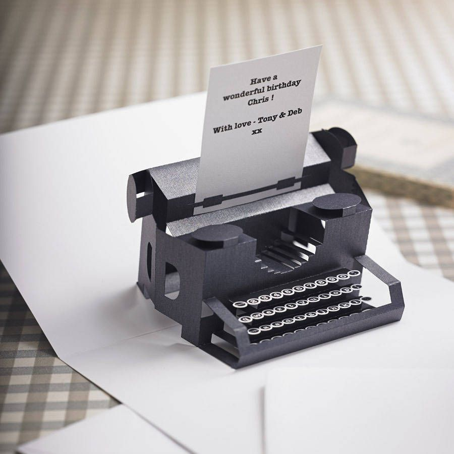 Personalised Typewriter Pop Up Card In 2021 Pop Up Card Templates Paper Pop Cards
