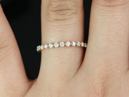 Petite Bubble  Breathe 14kt Rose Gold Diamond by RosadosBox.. i want a band like this to go along with my engagement ring!