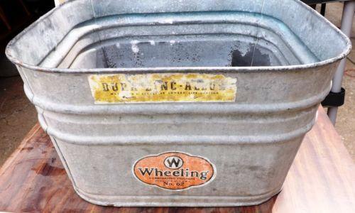 Vintage Wheeling 62 Square Galvanized Wash Tub Original Label Galvanized Wash Tub Wash Tubs Galvanized