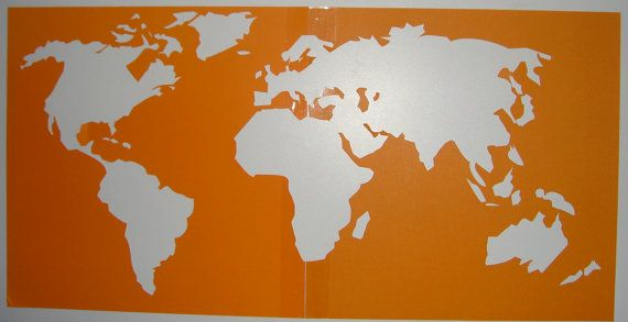World Map Stencil Referencing A Pin Below 10 On Etsy Sisterly