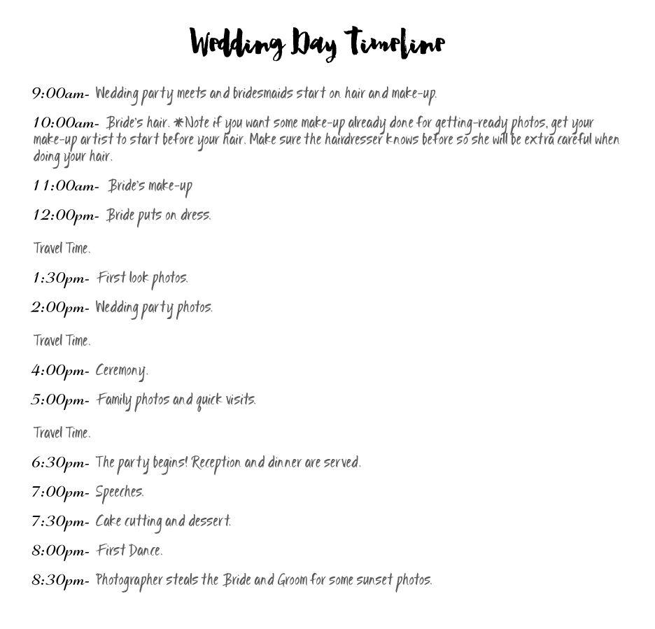 Wedding day timeline cheat sheet ideal timeline for canadian wedding day timeline cheat sheet ideal timeline for canadian springsummer follow the link junglespirit Choice Image