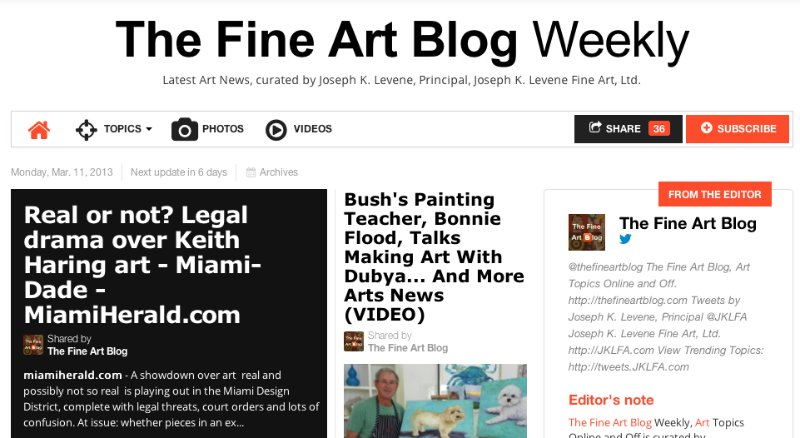 Read the March 11, 2013 issue of The Fine Art Blog Weekly curated by Joseph K. Levene: http://paper.li/thefineartblog/1356322146/  Top stories today via The Fine Art Blog: http://twitter.com/thefineartblog/  Joseph K. Levene Fine Art, Ltd. http://twitter.com/JKLFA/  Bloomberg Muse:  http://twitter.com/Bloomberg Muse/