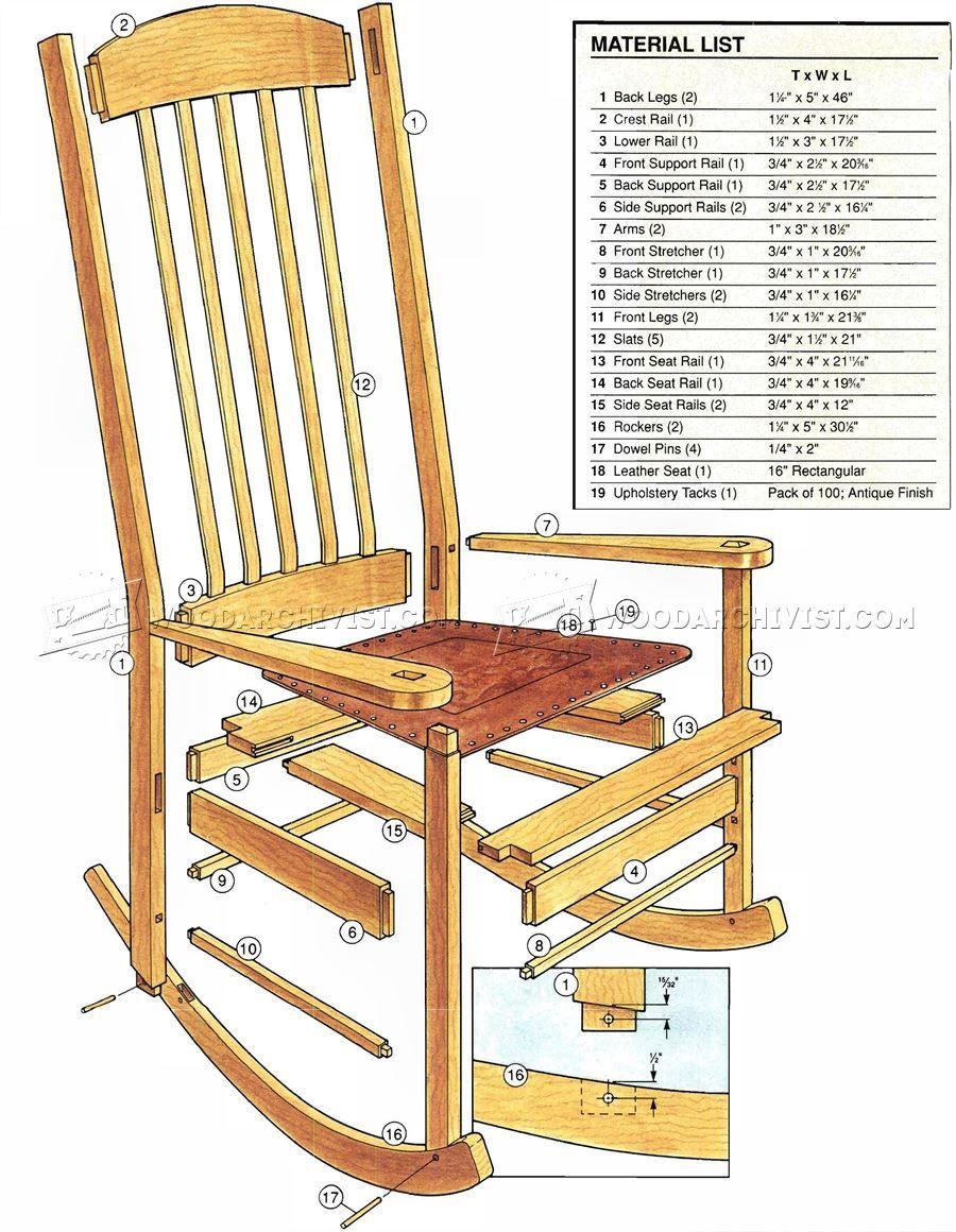 2907 Craftsman Rocking Chair Plans Furniture Plans Wood