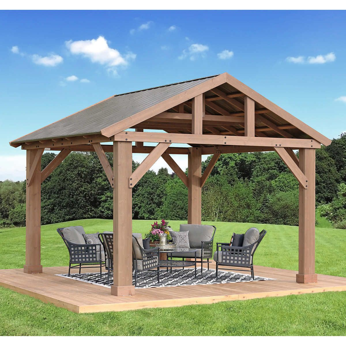14 X 12 Cedar Pavilion With Aluminum Roof Backyard Pavilion Outdoor Pergola Pergola Patio