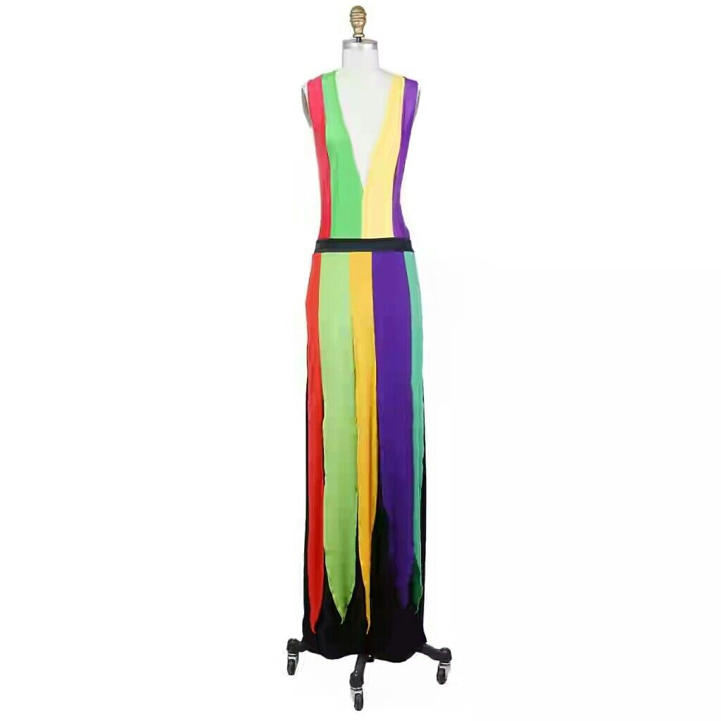 Giorgio Sant Angelo, circa 1970s Multi-color striped jersey tank dress $2800.