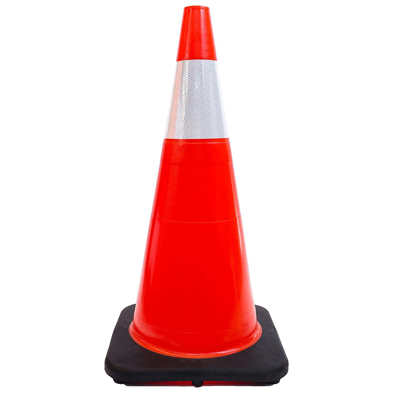 "28"" Orange Traffic Cones, One Reflective Collar Safety"
