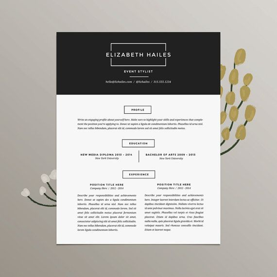 Modern Minimalist Resume And Cover Letter Template For Microsoft