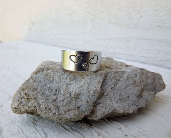 Silver aluminum cuff pregnancy expecting ring with 3 by Amayeli, $10.00