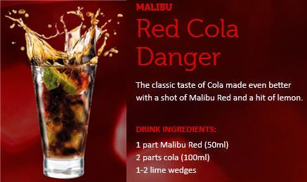 Malibu Red Cola Danger #MalibuRed #Cocktail #Cola #Rum