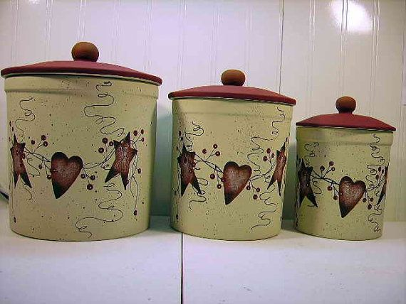 8 Country Hearts And Stars Ideas Stoneware Canister Set Primitive Decorating