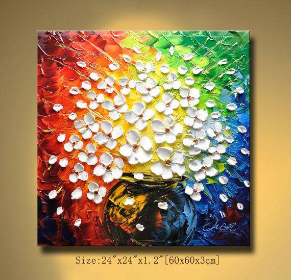 art knife ,contemporary wall art,Flowers painting Modern ...