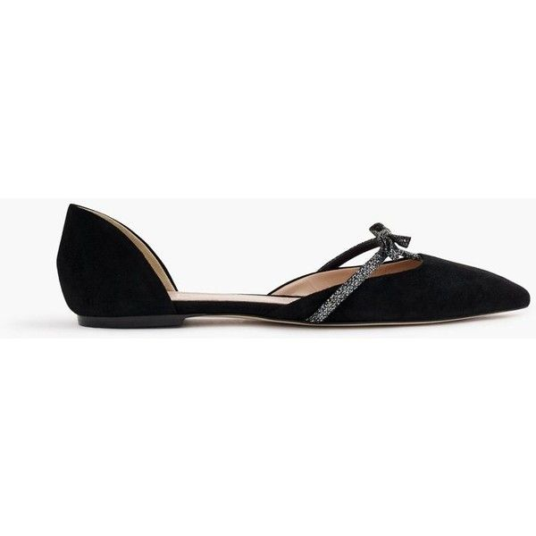 b7fabb07d6cb J.Crew Sloan Suede D orsay Flats With Mini Bow (£87) ❤ liked on ...