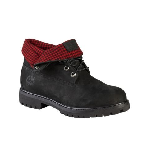 mens timberland woolrich roll top boot black