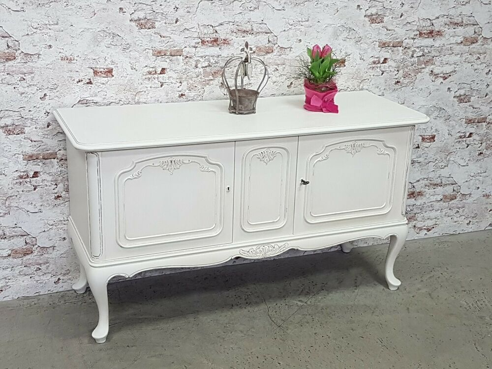 Sideboard Chippendale Anrichte Shabby Chic Antik Weiss Kommode