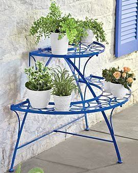 Asian Arts Wrought Iron Metal Three Tier Pot Stand Plant Stand