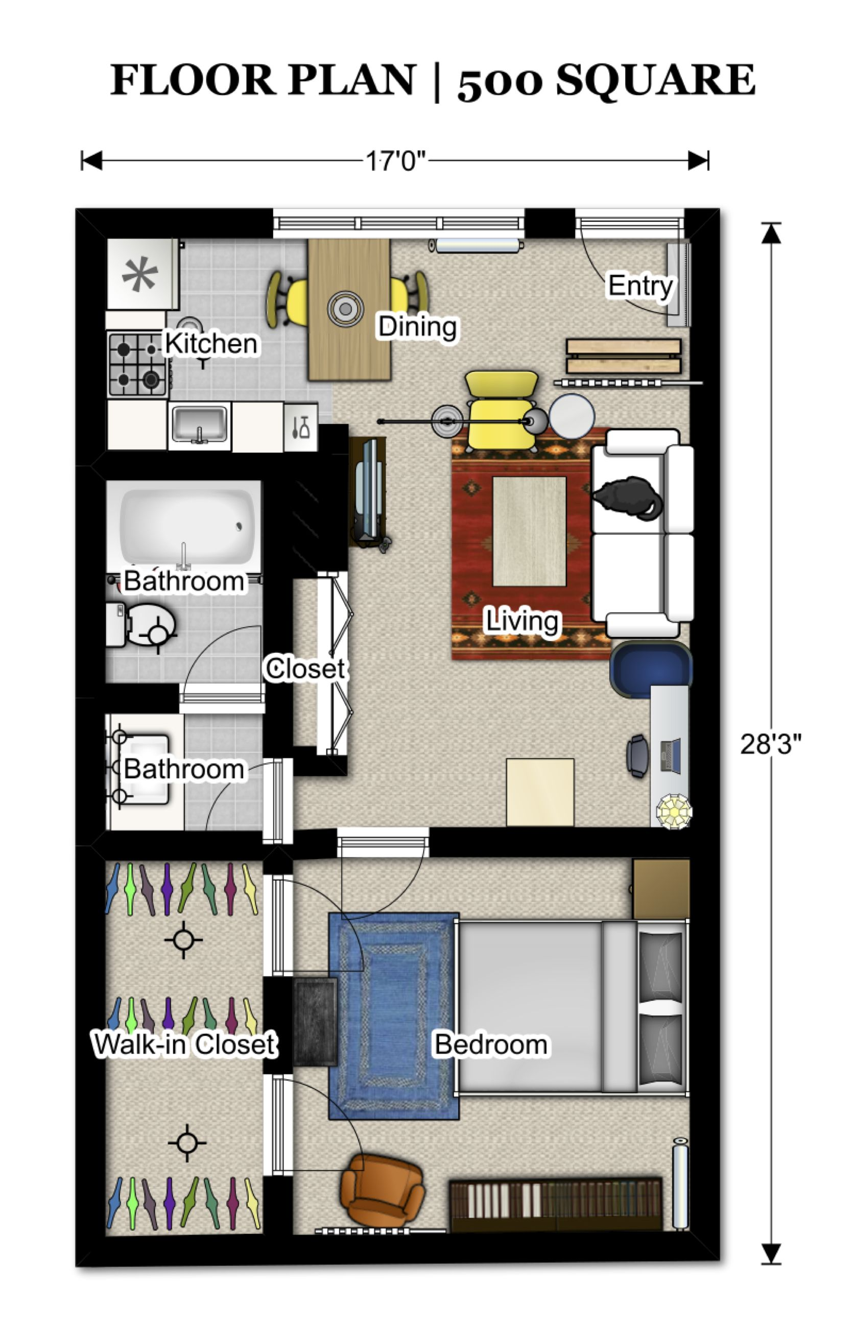 Floor plans 500 sq ft 352 3 pinterest apartment for Turn floor plan into 3d model
