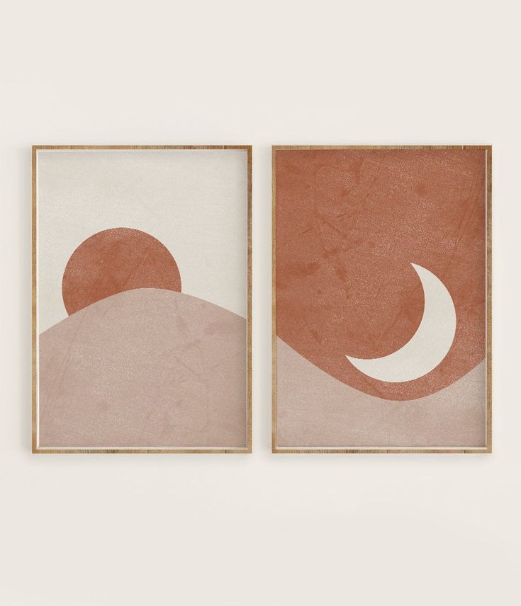 Sun and Moon Print Set of 2, Abstract Landscape, Terracotta Printable Mid Century Modern Minimal Wal