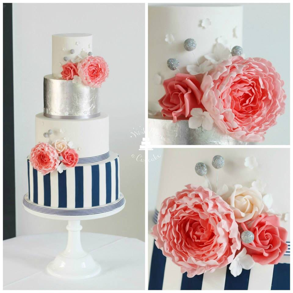 Coral, navy and silver leaf wedding cake | Recipes | Pinterest ...