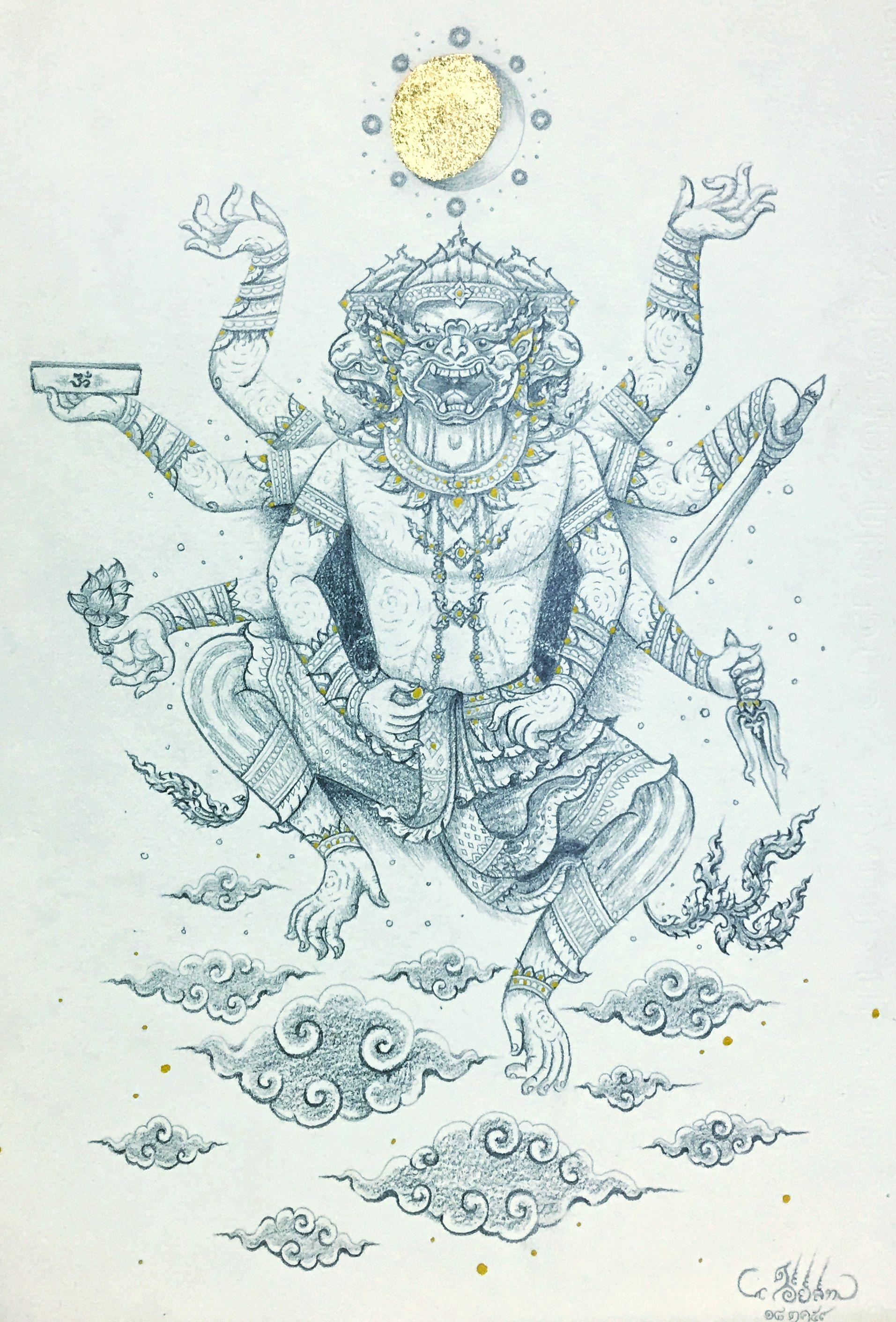 กำเน ดหน มาน Hanuman With 4 Faces And 8 Arms Thaiart Art Drawing Painting Thai Thailand Contemporary Myth Hanuman Ra รอยส กร ปช าง หน มาน ลวดลายขาวดำ