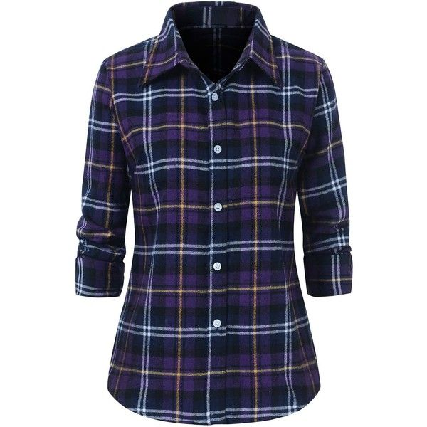 Benibos Women's Check Flannel Plaid Shirt (69 RON) ❤ liked on Polyvore  featuring tops