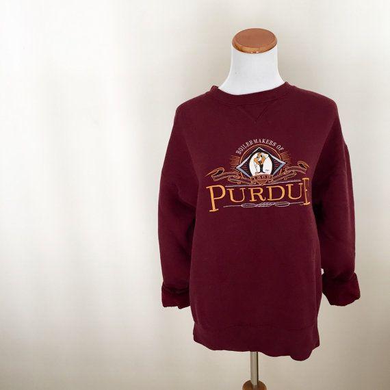 Vintage Maroon Purdue Crewneck Swearshirt Size by WildKardVintage
